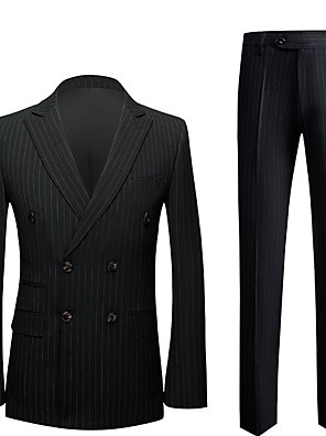 cheap Wedding Wraps-Tuxedos Slim Fit Peak Double Breasted Six-buttons Polyester Stripes / British / Fashion