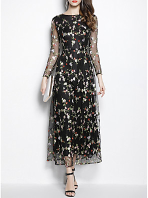 cheap Prom Dresses-Sheath / Column Floral Black Wedding Guest Prom Dress Jewel Neck Long Sleeve Ankle Length Polyester with Embroidery 2020