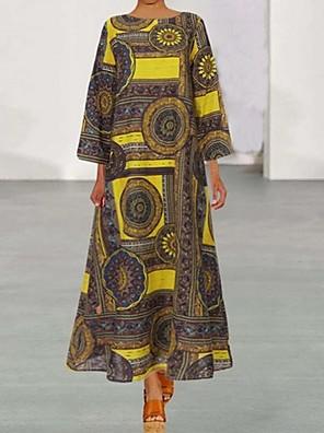 cheap Mini Dresses-Women's Maxi Loose Dress - 3/4 Length Sleeve Print Loose Green Brown S M L XL XXL XXXL XXXXL XXXXXL