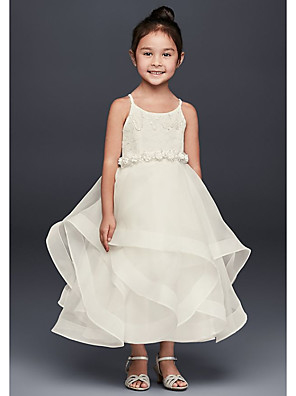 cheap Flower Girl Dresses-A-Line Ankle Length Wedding Flower Girl Dresses - Tulle Sleeveless Spaghetti Strap / Jewel Neck with Tier / Solid