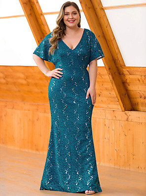 cheap Mother of the Bride Dresses-Mermaid / Trumpet Mother of the Bride Dress Vintage Plus Size Plunging Neck Floor Length Lace Half Sleeve with Lace 2020