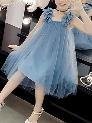 cheap Girls' Dresses-Kids Girls' Cute Street chic Solid Colored Mesh Patchwork Sleeveless Dress Blushing Pink