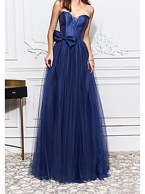 cheap Prom Dresses-Sheath / Column Elegant Blue Engagement Formal Evening Dress Strapless Sleeveless Sweep / Brush Train Tulle with Bow(s) 2020