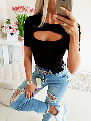 cheap Mini Dresses-Women's Solid Colored Cut Out Blouse Basic Daily White / Black