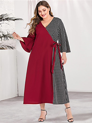 cheap Plus Size Dresses-Women's Plus Size Maxi A Line Dress - Long Sleeve Striped Color Block Solid Color Patchwork Spring & Summer V Neck Casual Elegant Daily Going out Flare Cuff Sleeve Red Green L XL XXL XXXL XXXXL
