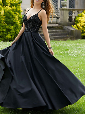 cheap Evening Dresses-Ball Gown Sexy Black Party Wear Prom Dress V Neck Sleeveless Floor Length Jersey with Pleats Beading 2020