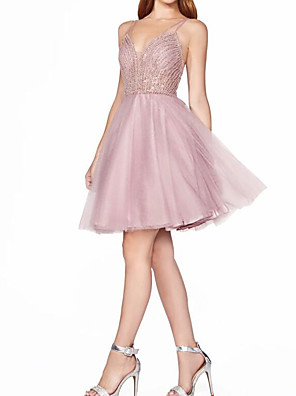 cheap Cocktail Dresses-A-Line Sparkle Pink Homecoming Graduation Dress Spaghetti Strap Sleeveless Short / Mini Tulle with Crystals 2020