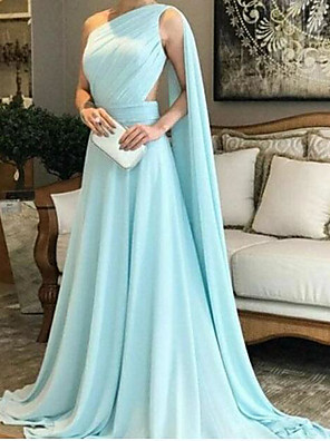 cheap Special Occasion Dresses-A-Line Elegant Party Wear Prom Dress One Shoulder Sleeveless Sweep / Brush Train Chiffon with Ruched 2020
