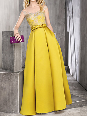 cheap Evening Dresses-Ball Gown Elegant Yellow Engagement Prom Dress Illusion Neck Sleeveless Floor Length Satin with Bow(s) Lace Insert 2020