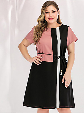 cheap Plus Size Dresses-Women's Blue & White Black & Red A Line Dress - Long Sleeve Color Block Solid Color Patchwork Spring & Summer V Neck Casual Basic Daily Work Loose Blushing Pink L XL XXL XXXL