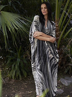 cheap Print Dresses-Women's Maxi A Line Dress - Half Sleeve Striped Deep V Black One-Size