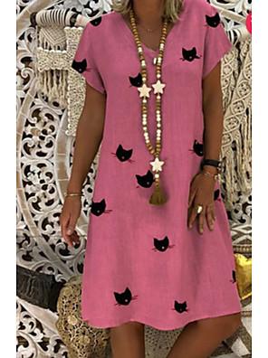 cheap Print Dresses-Women's Shift Dress - Short Sleeves Print V Neck Black Blushing Pink Orange Khaki Gold Green Light Blue S M L XL XXL XXXL XXXXL XXXXXL