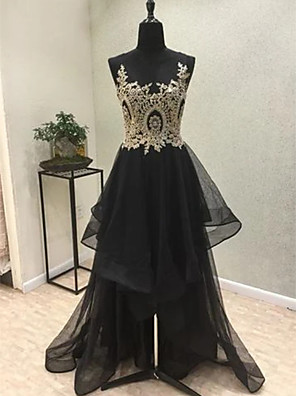 cheap Evening Dresses-A-Line Sparkle Black Engagement Formal Evening Dress Illusion Neck Sleeveless Asymmetrical Tulle with Tier Appliques 2020