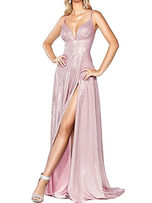 cheap Cocktail Dresses-A-Line Sparkle Pink Party Wear Prom Dress Spaghetti Strap Sleeveless Sweep / Brush Train Polyester with Sequin Split 2020