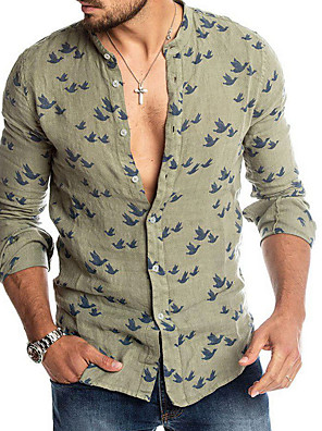 cheap Men's Shirts-Men's Geometric Shirt Sports Standing Collar White / Green / Long Sleeve