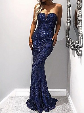 cheap Evening Dresses-Mermaid / Trumpet Sexy Sparkle Wedding Guest Formal Evening Dress Strapless Sleeveless Sweep / Brush Train Polyester with Sequin 2020