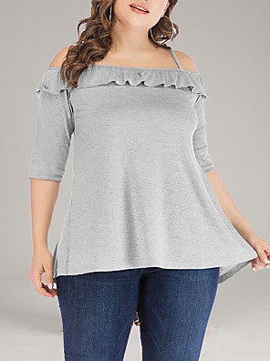 cheap Plus Size Dresses-Women's Plus Size Solid Colored Ruffle Criss Cross Loose Blouse Basic Daily Off Shoulder Strap Light gray