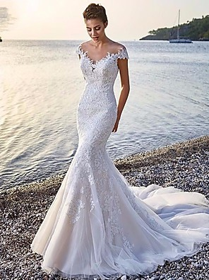 cheap Evening Dresses-Mermaid / Trumpet Wedding Dresses Scoop Neck Court Train Organza Sleeveless Sexy Wedding Dress in Color with Appliques 2020