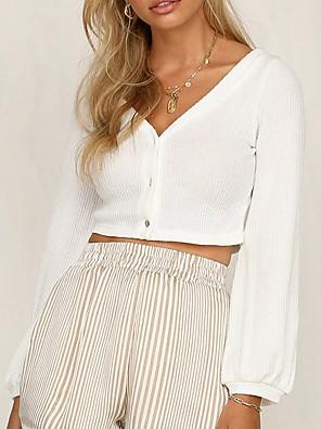 cheap Oversize Sweater-2020 SUMMER Long Sleeve Open Front Cardigan Button Down Knitting Jumper Crop Tops