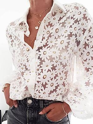 cheap Women's Blouses & Shirts-Women's Daily Shirt Geometric Embroidered Mesh Long Sleeve Tops Shirt Collar White