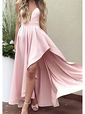 cheap Prom Dresses-A-Line Minimalist Pink Party Wear Prom Dress Spaghetti Strap Sleeveless Asymmetrical Satin with Pleats 2020