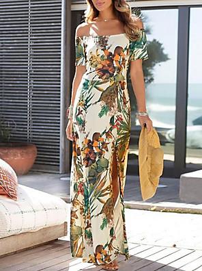 cheap Summer Dresses-Women's Sheath Dress - Short Sleeves Print Off Shoulder Slim Beige S M L XL