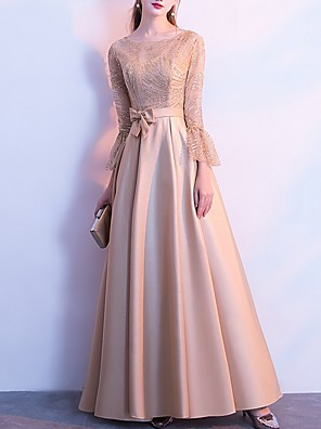 cheap Prom Dresses-A-Line Elegant Glittering Wedding Guest Prom Dress Jewel Neck 3/4 Length Sleeve Floor Length Polyester with Bow(s) Draping 2020