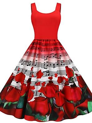 cheap Women's Dresses-Women's Sheath Dress - Sleeveless Print Patchwork Print Vintage Style Daily Belt Not Included Slim Black Red Rainbow S M L XL XXL