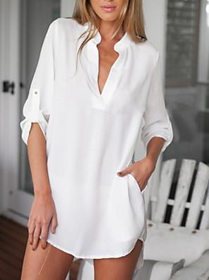 ieftine Bluze Damă-Pentru femei Zilnic Mărime Plus Size Bluză Cămașă Mată Manșon Jumate Topuri Șifon De Bază În V Alb Negru Albastru piscină