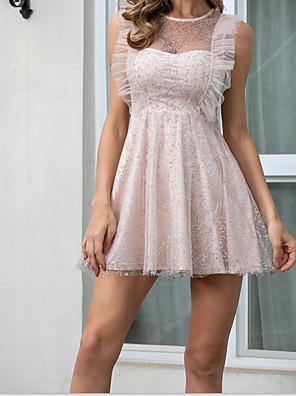 cheap Evening Dresses-Women's Pink Elegant Mini Dress Ruffle Flare A Line Shape MM0657