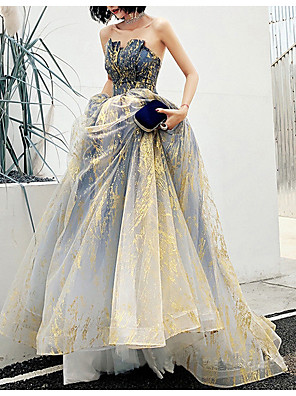 cheap Prom Dresses-Ball Gown Elegant Blue Engagement Formal Evening Dress Strapless Sleeveless Court Train Polyester with Crystals 2020
