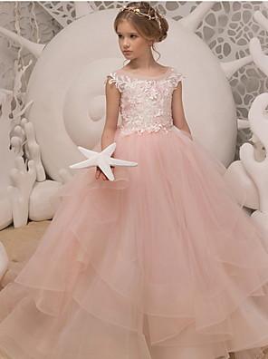 cheap Flower Girl Dresses-Ball Gown Floor Length Wedding / Birthday Flower Girl Dresses - Polyester Sleeveless Jewel Neck with Ruffles / Appliques