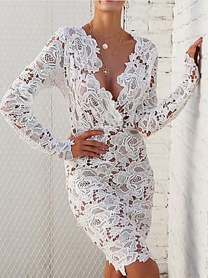 cheap Women's Dresses-Women's Sheath Dress - Long Sleeve Solid Color V Neck White S M L XL