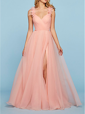 cheap Prom Dresses-A-Line Elegant Pink Engagement Prom Dress V Neck Sleeveless Sweep / Brush Train Tulle with Split Appliques 2020