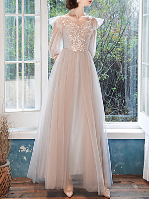 cheap Bridesmaid Dresses-A-Line Jewel Neck Floor Length Tulle Bridesmaid Dress with Appliques / Illusion Sleeve / Open Back