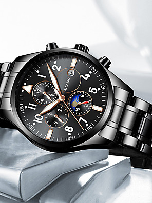 cheap Quartz Watches-Men's Mechanical Watch Automatic self-winding Titanium Alloy 30 m Water Resistant / Waterproof Day Date Analog Fashion Cool - Black / Silver Blue Black One Year Battery Life
