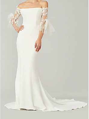 cheap Evening Dresses-Mermaid / Trumpet Wedding Dresses Off Shoulder Sweep / Brush Train Lace Satin 3/4 Length Sleeve Country Plus Size with Lace Embroidery 2020