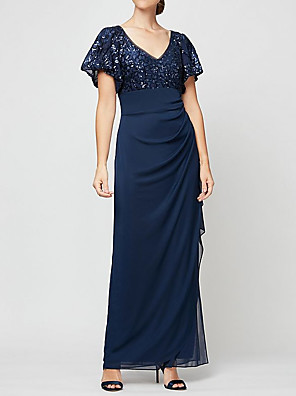 cheap Mother of the Bride Dresses-Sheath / Column Mother of the Bride Dress Elegant V Neck Floor Length Chiffon Sequined Short Sleeve with Sequin Ruching 2020