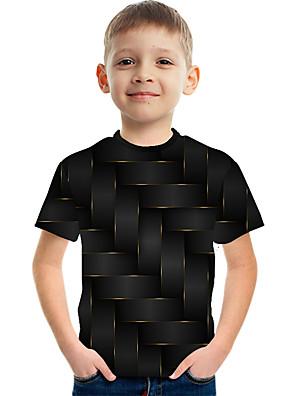 cheap Boys' Tops-Kids Boys' Active Street chic Color Block 3D Print Short Sleeve Tee Black