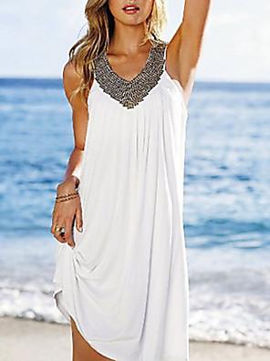 cheap Mini Dresses-Women's Sundress Short Mini Dress - Sleeveless Summer V Neck Holiday Vacation Beach White Black Blue Purple Red Green Light Blue One-Size