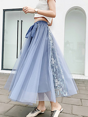 cheap Women's Skirts-Women's Swing Skirts - Solid Colored Blushing Pink Blue Black One-Size