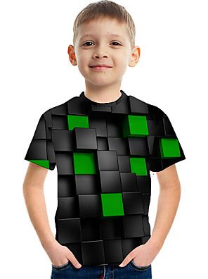 cheap Boys' Clothing-Kids Boys' Active Street chic Color Block 3D Print Short Sleeve Tee Green