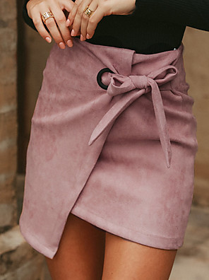 cheap Women's Tops-Women's Cotton Asymmetrical Bodycon Skirts Solid Colored