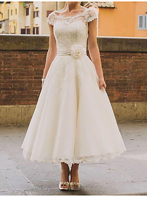 cheap Wedding Dresses-A-Line Wedding Dresses Jewel Neck Ankle Length Polyester Short Sleeve Vintage Plus Size with Sashes / Ribbons Lace Insert 2020