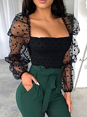 cheap Mini Dresses-Women's Solid Colored Mesh Patchwork T-shirt Daily Off Shoulder Black