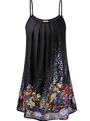 cheap Summer Dresses-Women's Shift Dress - Sleeveless Print Strap Loose Black Yellow M L XL XXL