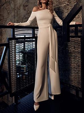 billige Aftenkjoler-Jumpsuits Elegant Hvid Bryllupsgæst Skolebal Kjole Etskuldret Langærmet Gulvlang Stræksatin med Bælte / bånd 2020