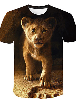cheap Boys' Tops-Kids Boys' Basic Street chic Color Block 3D Animal Print Short Sleeve Tee Brown