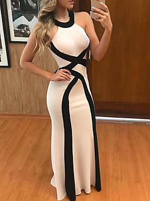 cheap Evening Dresses-Sheath / Column Color Block Beautiful Back Wedding Guest Formal Evening Dress Halter Neck Sleeveless Floor Length Polyester with Sleek 2020