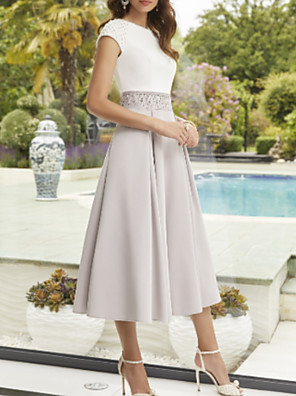 cheap Mother of the Bride Dresses-A-Line Mother of the Bride Dress Elegant Jewel Neck Ankle Length Polyester Short Sleeve with Pleats 2020